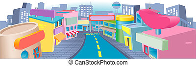 Illustration of shopping street