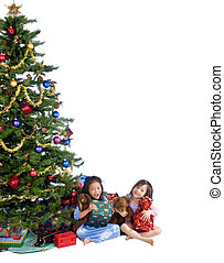 Christmas Morning - Two young girls opening presents on...