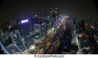 Seoul City 135 - 135) Time lapse of traffic and architecture...