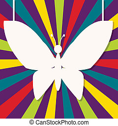 abstract design with paper butterfly on retro background