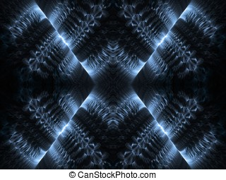Geometric Blues Abstract - Blue, flowing feathery textures...