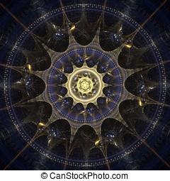 Glitter Mandala - Blue, spike layered mandala, fractal...