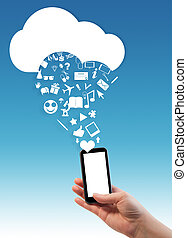 Hand holding smart/mobile/cell/phone with cloud and...