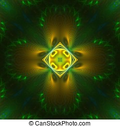 Green and Yellow Symmetrical - Feathery texture, bright...