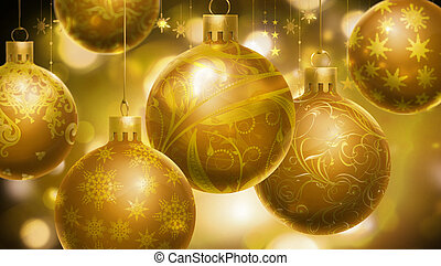 Christmass abstract background with big decorated balls in...