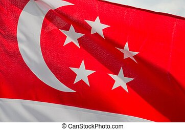 Singapore flag with crescent stars - The flag of the...