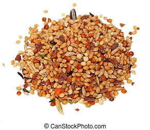 pile seeds and fruits for birds complete food for budgies