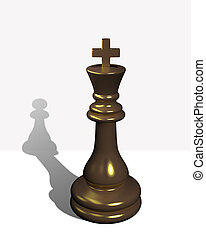 Chess king with the shadow of a pawn