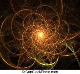 Spiraling Loops Abstract - Spiraling loops of glowing golden...