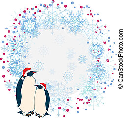 New Year frame with penguins - vector abstract background...