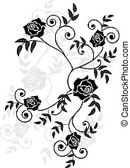roses vignette - vector illustration of roses in black, grey...