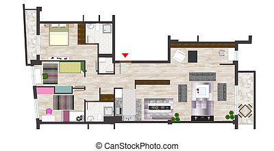 Home floor plan - Architectural plan drawings with editing...