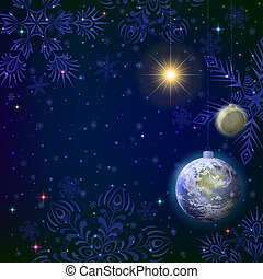 Christmas background, snow in space
