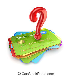 Red query mark on colorful credit cards.Isolated on white.3d...