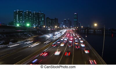 Seoul City Zoom 144 - 144 Zooming time lapse of traffic and...