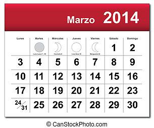 March 2014 calendar.