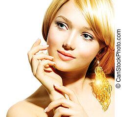 beleza, loiro, moda, modelo, menina, com, dourado, brincos