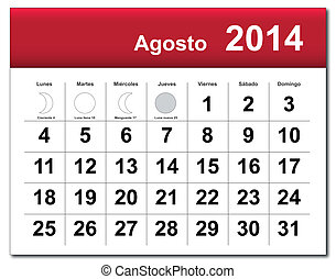 August 2014 calendar - EPS10 vector file Spanish version of...