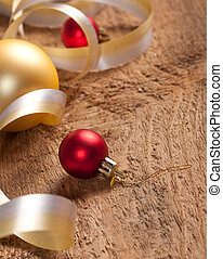 Christmas background - Christmas decoration on wooden...