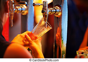 Pouring a Beer in Pub - Pouring a Lager Beer in Pub