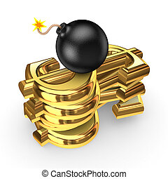 Black bomb and symbols of dollarIsolated on white3d rendered...