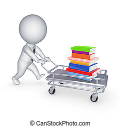 Stack of books on a pushcart.Isolated on white.3d rendered.