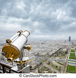 View from the Eiffel Tower at the Champ de Mars - PARIS -...