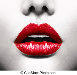 Sexy Lips Conceptual Image with Vivid Red Open Mouth