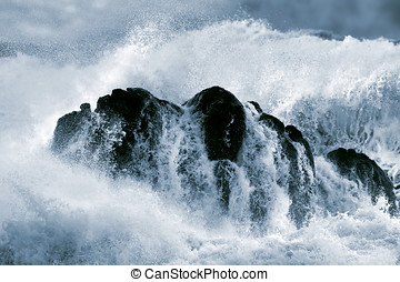 Detailed big crashing wave - Detailed photo of a big stormy...