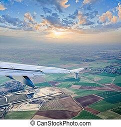 航空写真, 飛行機, 光景, によって, 砲門