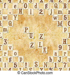 puzzle - seamless background with letters . Linux Libertine...