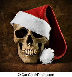 cristmas skull with red hat