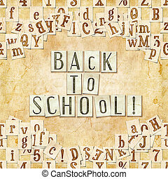 back to school ! - seamless background with letters . Linux...