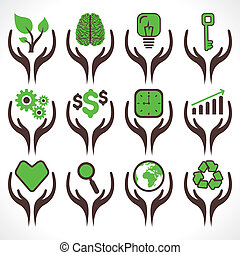 different icon in hand stock vector