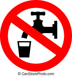 Do not drink water, vector sign
