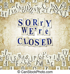 sorry we're closed - seamless background with letters ....