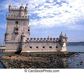 Tower of Belem, Lisbon, Portugal - Tower of Belem along the...