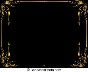 Gold frame on black backg