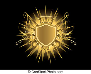 Gold shield with halo - Gold shield with glow on a black...