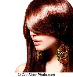 Fashion Woman Portrait. Stylish Model. Beauty Makeup