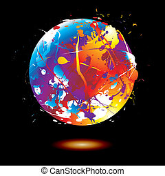 paint splat globe - Round ink splat with a rainbow effect...