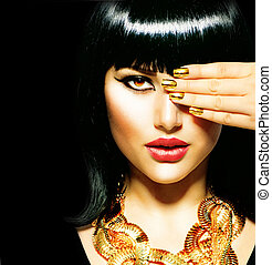 belleza, morena, egipcio, mujer, dorado, accesorios