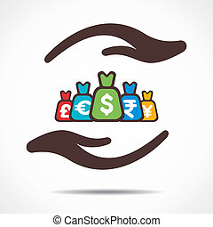 save or secure money concept icon stock vector