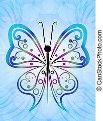 Abstract butterfly outline blue vector background.
