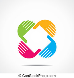 creative hand icon, arrange hand and make square shape stock...