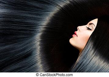 saudável, longo, pretas, cabelo, beleza, morena,...
