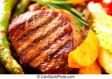 Grilled Beef Steak Meat with Fried Potato, Asparagus,...
