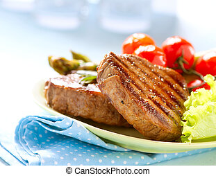 grelhados, carne, bife, carne, legumes