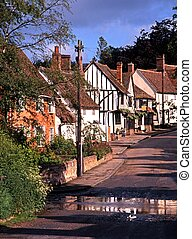 Village street, Kersey, Suffolk. - View up main village...