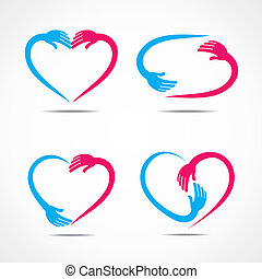 different heart shape symbol design with hand stock vector